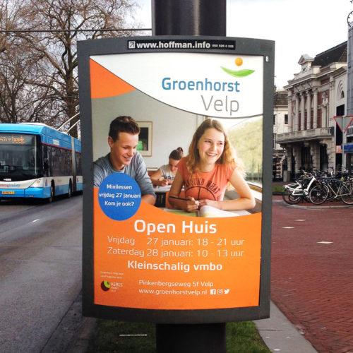 Groenhorst, vmbo en mbo scholen in noord en midden Nederland, affiche. Open huis aankondiging.